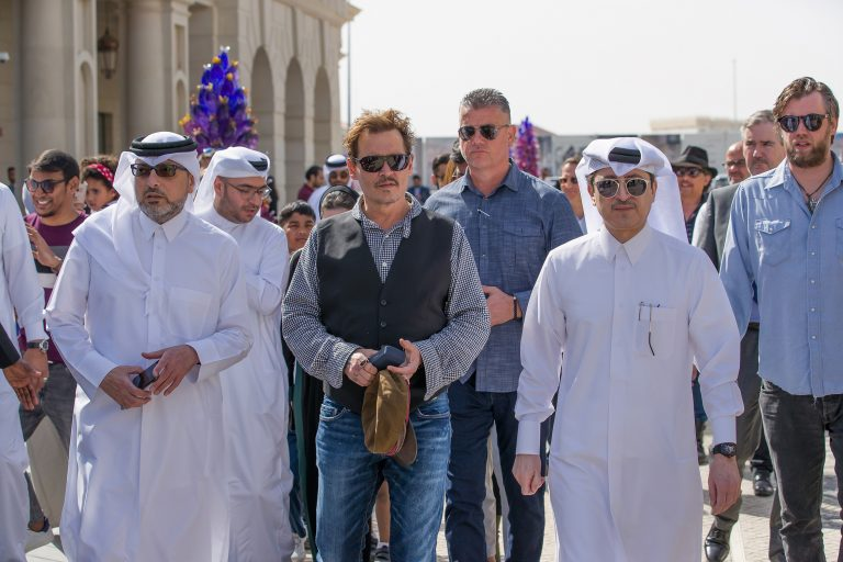 The legend, Johnny Depp, visits Galeries Lafayette Doha to meet a group of differently abled kids